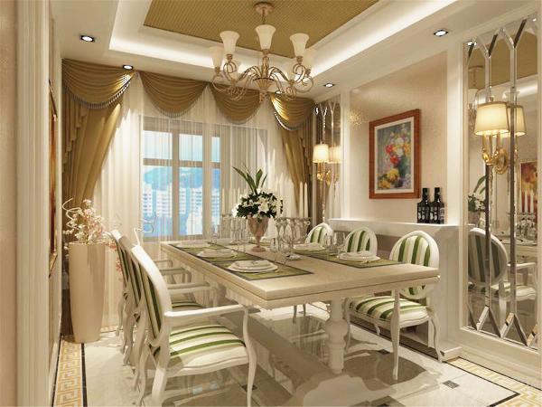 餐厅的餐桌为定制设计,采用大理石台面,下部的柜体可以储物。餐桌同时也是吧台,餐厅空间使用更加自由多样。