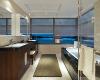 盥洗台与浴缸平行,L型窗户令空间视野更广阔,夜景透过窗户照进来,生活的乐趣在这一刻全然释放。