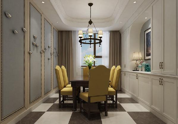 餐厅看似漫不经心的将各种风格元素融合,实则彰显美式的自由和实用主义。浅蓝与土黄墙板上装饰如栖息的鸟儿,对称墙面则是白色环绕型收纳柜,中间的明黄餐椅,显得特立又带着时尚格调。