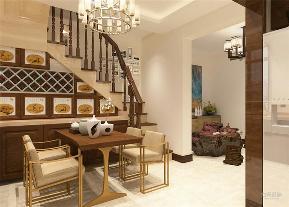 二居 白领 小资 中式 楼梯 餐桌 酒柜 餐厅图片来自阳光力天装饰在新中式 锦江欣苑 120㎡的分享