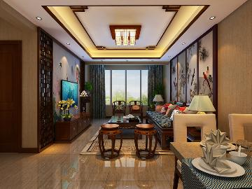 两居室中式装修案例--兰亭御湖城