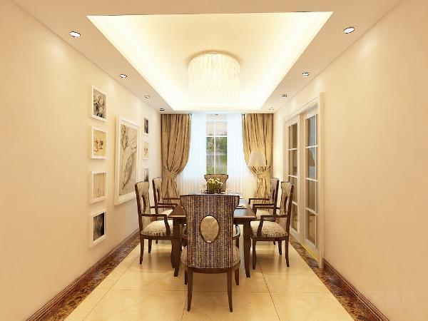 餐桌椅的材质和风格与沙发相一致。顶面与客厅保持一致。地面是和客厅一致的600*600复古砖。走廊采用平顶中心凹槽加以射灯,简单实用