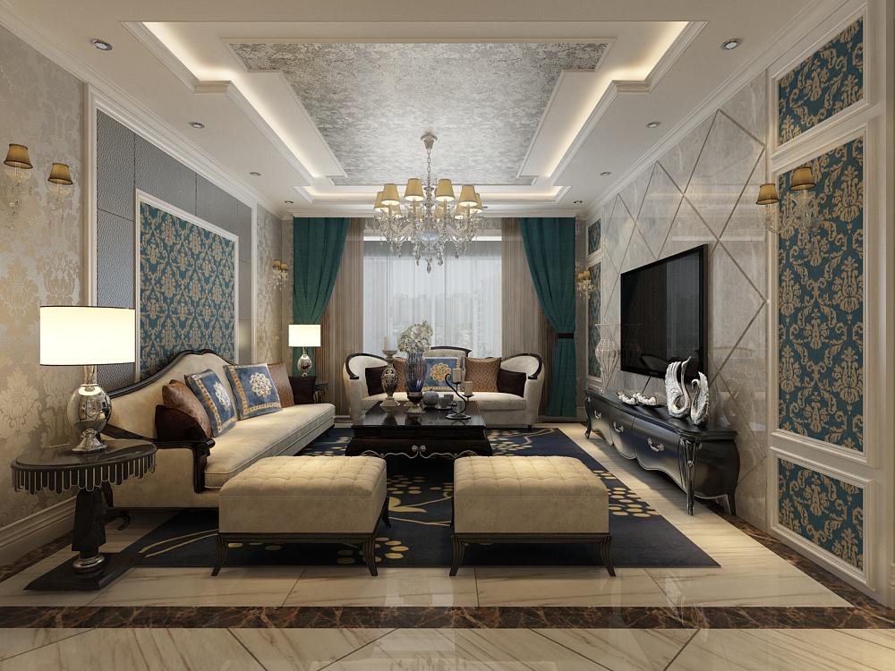 简欧风格 新房装修 三居室 客厅图片来自山西紫苹果装饰公司在府东公馆简欧的分享