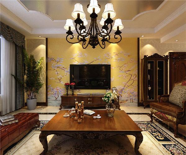 本方案以古典欧式风格为主,客厅地面通铺800*800地砖,中间斜铺地砖加120mm的波打线,顶面为石膏板叠级的造型,中间贴银箔