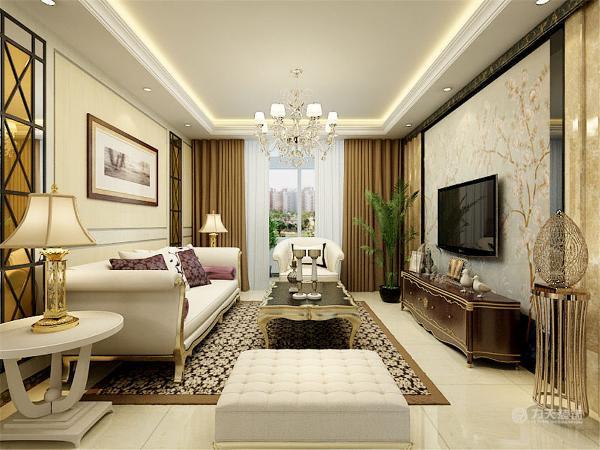 沙发和茶几以及电视柜都是采用欧式风格的。