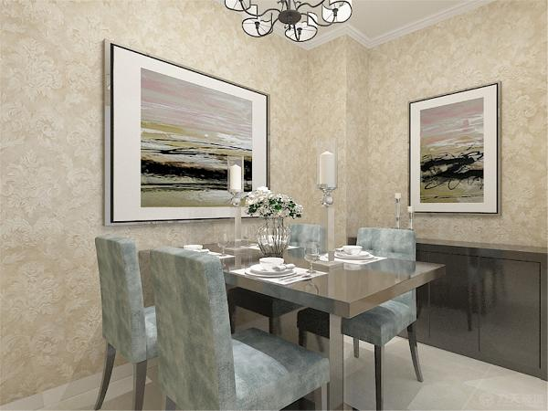 餐厅区的采光从厨房操作间而来,考虑到业主家里的用餐人口因此选择了四人餐桌。墙面放置了两张挂画温馨大气。