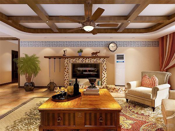 客厅的电视背景墙我们用田园风格里最常见的马赛克做的造型,加上左边的空调和右面的绿植,形成了一个巧妙地组合。沙发我们用的大一点的沙发。