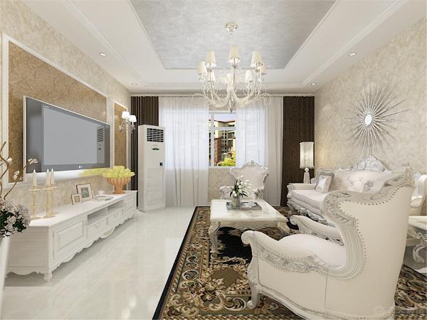客厅做了石膏线造型吊顶,并且放置了射灯,为空间营造出温馨浪漫的视觉空间感。中间采用了银箔的材质,显得整个空间高端大气。