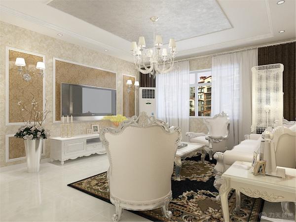 沙发背景墙面并没有做过多的装饰,只是简单的放置了一面太阳镜,起到了点睛之笔的作用。