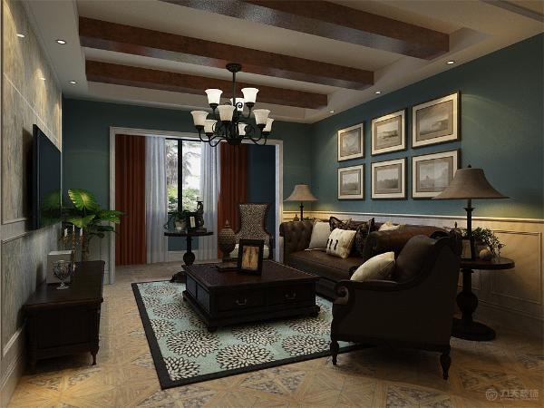 家具选用了纯实木深色家具进行搭配,略有复古的味道,电视背景墙采用石材装饰。