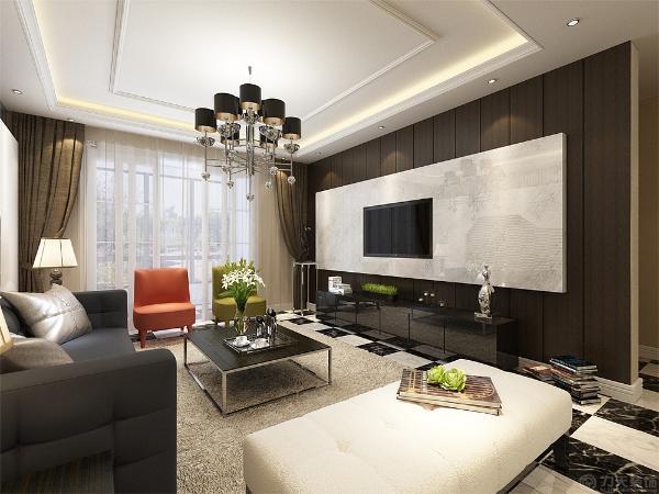 电视背景墙是仿大理石材料和木板结合做的造型,茶几是黑色烤漆玻璃,这种材料干净利落的诠释了现代美。