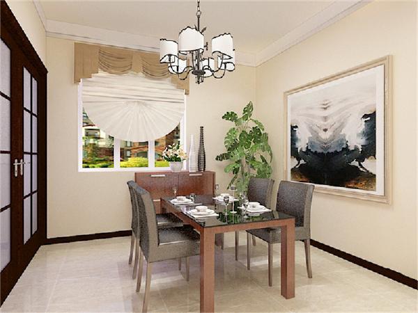 餐厅区的墙面和客厅区的一样,顶面做了石膏板边线造型,墙面挂置了一幅简洁的装饰画,成为餐厅区的点睛之笔。