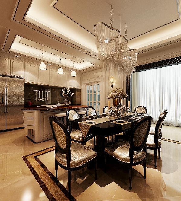 新古典风格崇尚舒适,没有复杂隔断,空间的面积大,金色与暗色为主调,尽显低调奢华尽显品味。