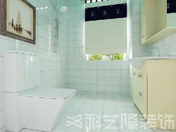 卫生间地面与墙面采用铺贴300*300白色抛光瓷砖的方式,使整个卫生间达到效果的统一。