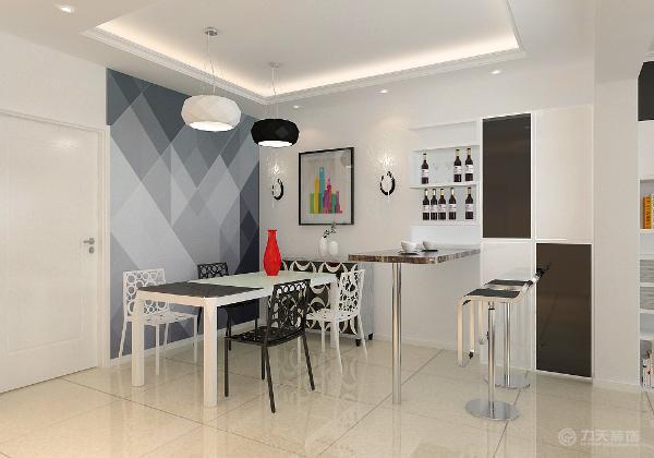 在客厅之间设计一个吧台作为一个休闲区域,同时让客餐厅的活动有一个交互。将厨房门口的墙拆除使空间动线变的联通自由,灶具则被安置在阳台这样就避免了油烟问题。