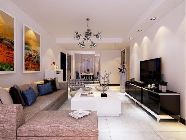 本方案是现代主义风格,客厅大面积是原定白色乳胶漆电视背景墙的上方是400宽轻钢龙骨石膏板吊顶,过道顶面是轻钢龙骨石膏板吊顶(平顶)。