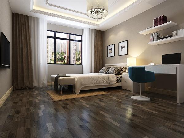 卧室特征主要是黑白灰,很少有复杂的图案,有休息区也有工作区,造型简单不失优雅,空间整体含蓄大方。