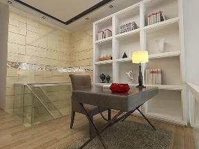 现代 复式 收纳 实用 白领 书房图片来自天津京尚装饰在京尚装饰-保利-现代复式82㎡的分享