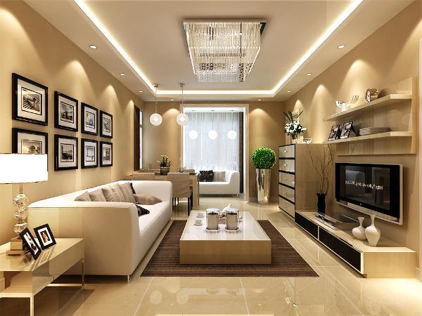 现代风格给人以大方的感觉,首先整个户型的吊灯客厅部分采用白色的石膏板回字形的吊顶,四周附加筒灯相互照应,而墙体采用硅藻泥进行粉刷,选择较深色的硅藻泥来装饰客厅以及餐厅