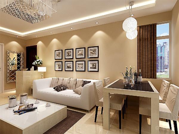 地面采用牙黄色的大理石地砖进行铺装,整体家居以白色以及桦木的木纹进行配色,所以整个客厅餐厅给人以一种温馨的感觉。