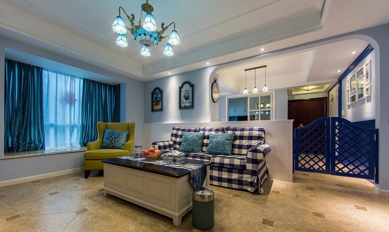 客厅图片来自家装大管家在88平地中海风格居 静谧蔚蓝港湾的分享