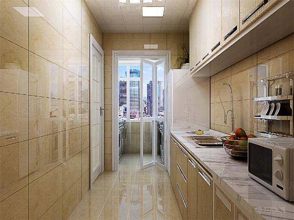 壁纸采用浅色的浅灰的现代壁纸,厨房的设计采用大理石进行铺贴,简洁的橱柜进行使用。吊顶则采用白色的集成吊顶进行装饰。