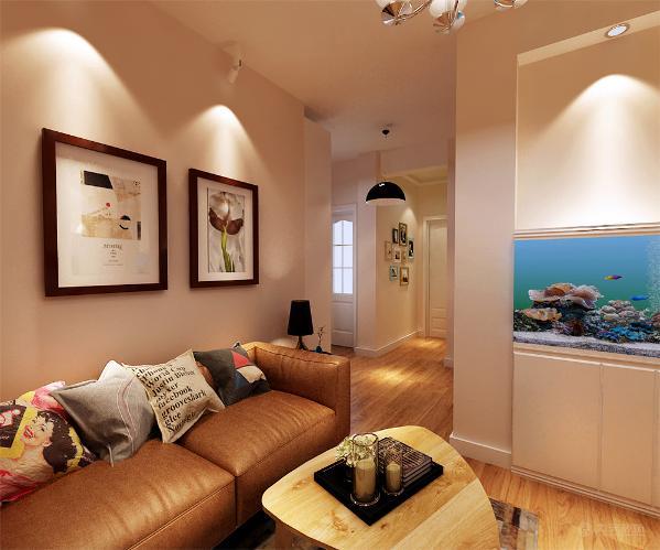 沙发背景墙则是以两幅现代的挂画加以点缀,挨着电视背景墙左边凹进去的那一块做了一个半高的鱼缸,为整个空间增添了一丝活力;