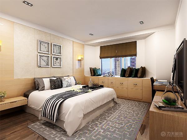 主卧的设计是一个白色简约的卧室。以浅色的木质进行装饰,沙发的背景墙则采用画作为装饰。厨房的设计设计成白色的橱柜,米色的大理石台面进行装饰。白色的集成吊顶作为吊顶。
