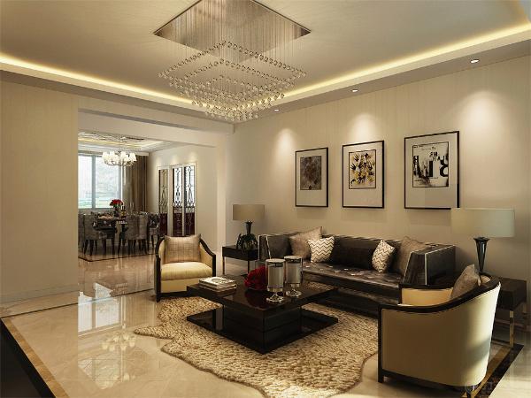 沙发以及电视柜等的选择都属于简化了的欧式家具造型,使其看起来不失高贵华丽质感,营造出简约而不简单之感。
