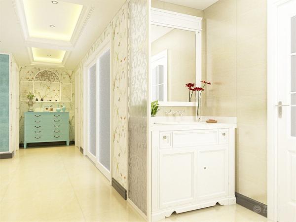 进入业主家,一个玄关鞋柜,给人大方的感觉。客厅与餐厅相连,布局合适,整体是地中海风格的搭配。