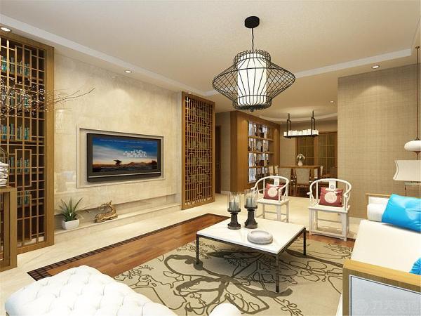 在起居室和餐厅区域选择了800*800的地砖,为整个空间风格奠定基础。客厅的顶面是回字形吊顶,餐厅的顶面都是圆字形吊顶。