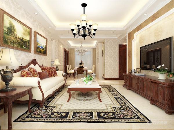 整体采用了暖光色调,给人一种轻松,温暖的感觉,沙发背景墙使用了两幅风景画作为装饰,给人一种舒服的感觉,和家具的风格也统一,不会特别跳。