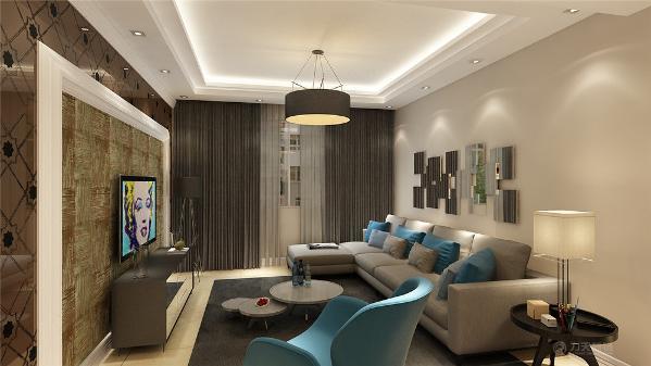 首先介绍一下客厅的设计,客厅区域电视背景墙用石膏板圈边,外圈用咖色印花玻璃做装饰,内圈石膏线内用壁纸做点缀