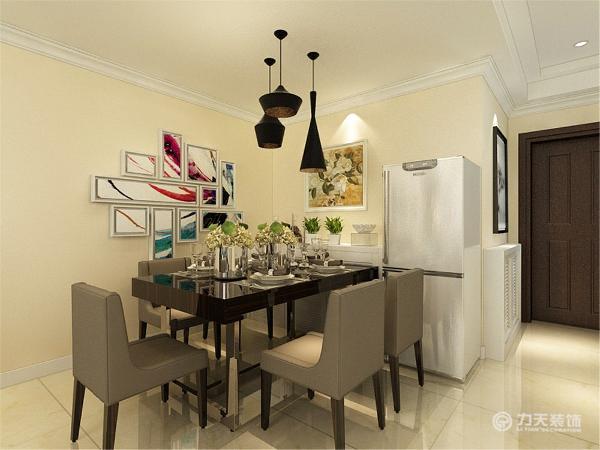 餐厅选择了标准现代简约的五人餐桌,搭配时尚的照片墙,显出现代简约风格的简约但是不简单的特点。