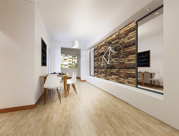 餐厅的背景墙用的是仿古的文化石墙面的壁纸做的,再加上自行车的点缀,两边是镜子,对面是餐桌