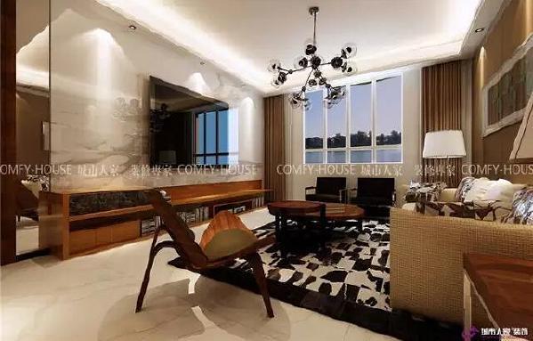 电视墙将大理石和软木材质巧妙结合,造型上也打破了传统的对称,颜色一深一浅,增加了视觉冲击力和空间的层次感。线条流畅的布艺沙发和吊灯,很好的将直线和曲线合理分布,空间的线条感和装饰性展现的淋漓尽致。