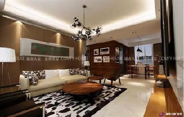 整个设计风格以现代简约的线条感和空间感贯彻始终,充分利用空间结合业主的生活习惯,打造轻松、自在的时尚家居。将客厅与餐厅进行很好的结合,大大的落地窗将美好的阳光引入室内,整个空间色调和谐明快。