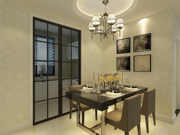 整体空间浅黑色颜色搭配,显得即干净又利落餐厅放置四人餐桌,吊顶选择圆顶,搭配几幅挂画,整体空间温馨。