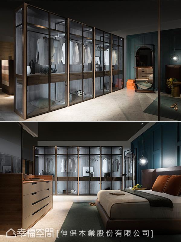 采半穿透呈现的衣柜成为卧房内的亮丽风景,有如居家空间专属的精品橱窗。