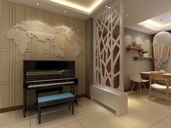 在门厅中做了一个鞋柜和花格栅的玄关,放置钢琴的墙面和电视背景墙用同样的材料,上面贴了一个世界地图的图案,代表家长对孩子的期许整个空间内的家具全部选择木纹色家具。