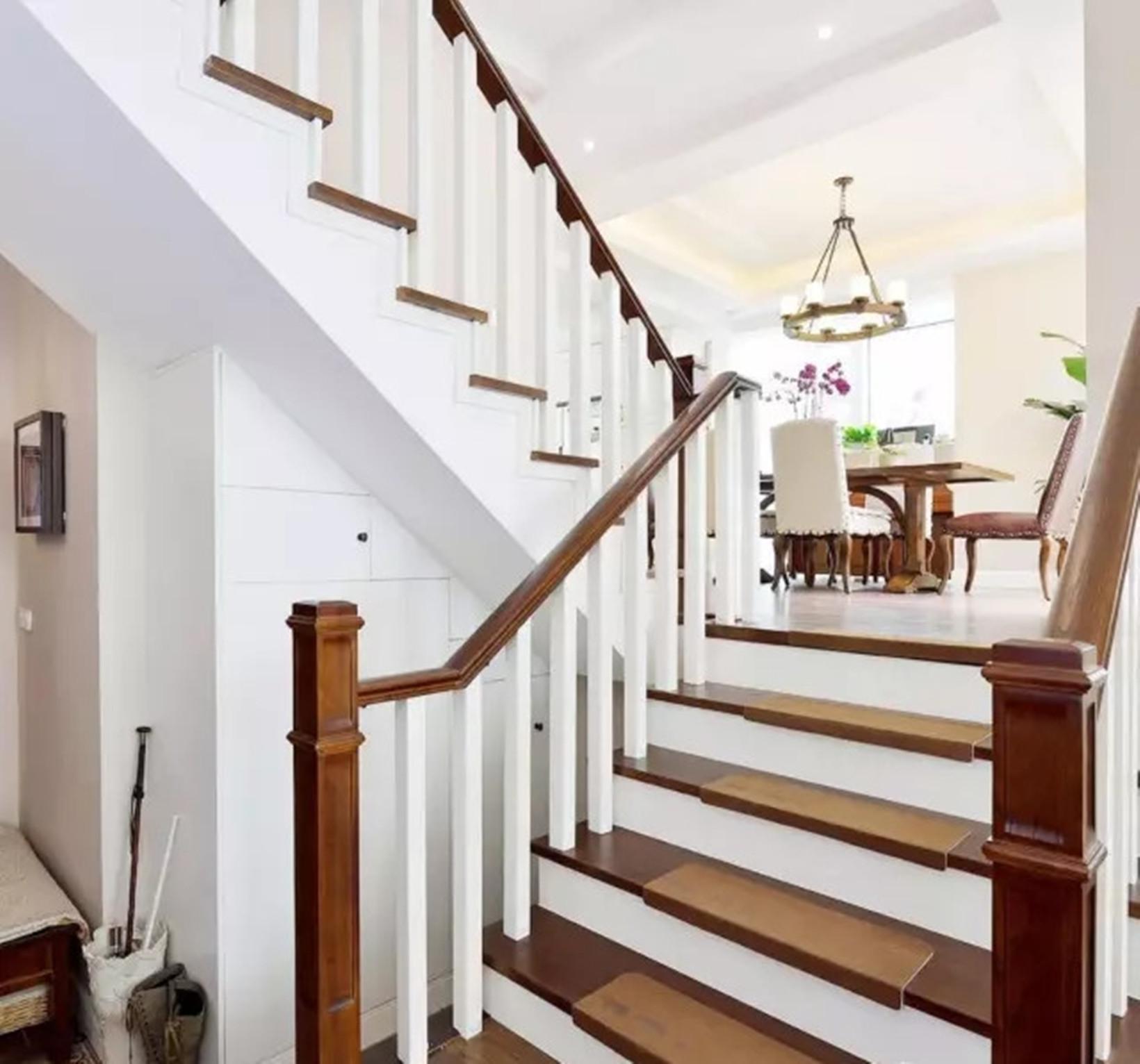 美式 现代 别墅 清爽 楼梯图片来自高度国际装饰宋增会在孔雀城280平米清爽现代美式设计的分享