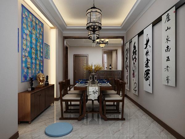 餐厅墙的造型简洁现代,却在醒目位置饰以中式书法,这是餐厅和书房兼具的功能区,由于业主喜欢书法,所以根据业主的爱好人性化的设计了一个空间。