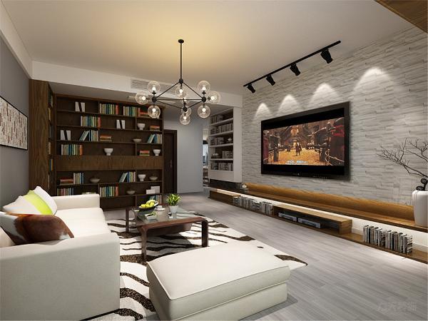 本案以黑白灰色为基调,搭配白色沙发、原木色家具看上去现代大气又不失北欧风情,客厅阳台设计了休闲区阅读区,在慵懒的阳光下喝茶,会友,读书享受时间的流淌,及其惬意。