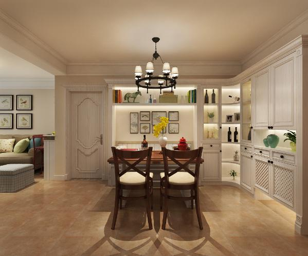 在美式风格设计中,也不会采用过多的色彩。为了凸显其贵气与端庄,在美式家具的油漆上,一般都以单一色为主。整套美式风格装修设计的家居环境中,大多都是统一色系的装修色彩。