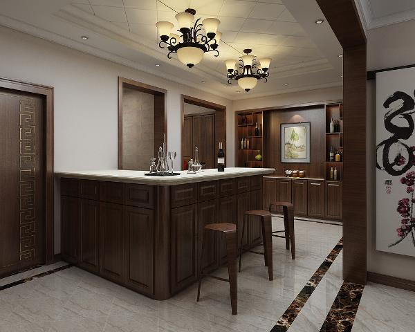 由于此户型的厨房面积狭小,在中厅设有吧台增加厨房的储物空间,这种绝妙的组合给人以强烈的视觉意志力,成为时尚与古典的柔媚结合。