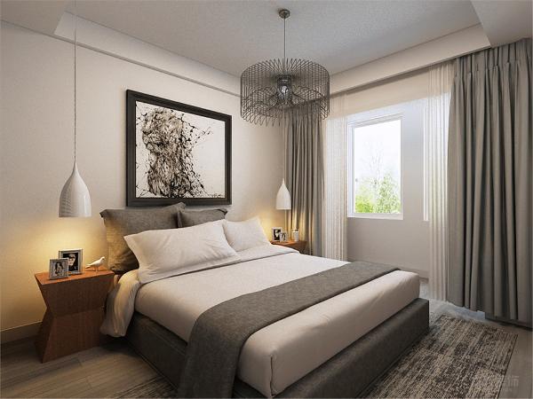 主卧室以白色灰色作为基调,以黑白挂画占据整个背景墙,使整个以浅色为主色调的空间加入一丝灰颜色更显沉稳大气,忙碌一天回到卧室在喧嚣的城市中有一块属于自己放松温馨的空间。