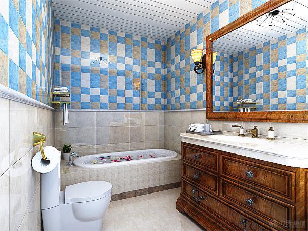 作为独立的卫生间,设计成一个浴缸,这样符合主人的喜欢,墙砖的选择以上下分开来装饰的。