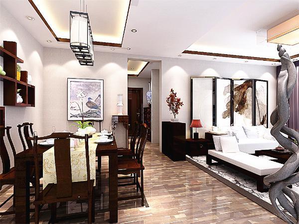 餐厅的设计,在足够的空间的基础上,餐桌的背景墙用木质的面板设计成格状的储存物品的东西,这样即使一种易于观赏的东西,也更富有一种收藏的爱好。
