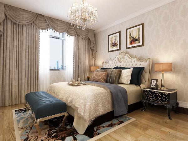 卧室主打的是温馨温暖的感觉,床的选择上,是运用的为欧式软包花纹的床,配搭深色系的抱枕,墨绿贵妃椅床榻增添空间的稳重感,窗帘采用的是暖灰色系列。