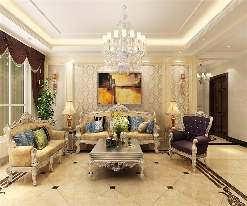 客厅图片来自天津科艺隆装饰在融侨观邸—简欧风格—220㎡的分享